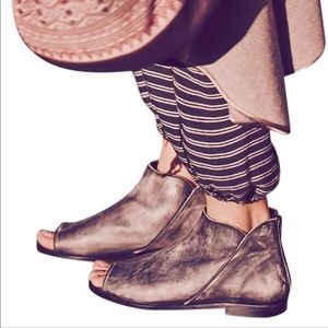 Free People Shoes - Free People Falcon Flat Grey Open Toe Booties